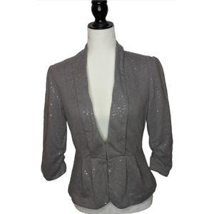 Elle Sequin Gray Blazer Size 6